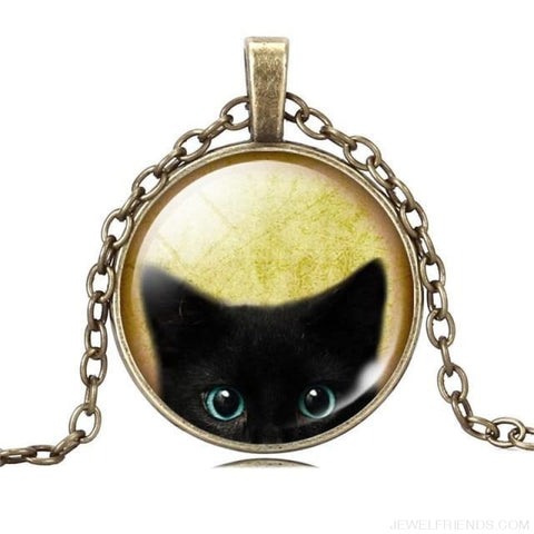 Glass Cabochon Black Cat Picture Chain Necklace - 1 - Custom Made | Free Shipping