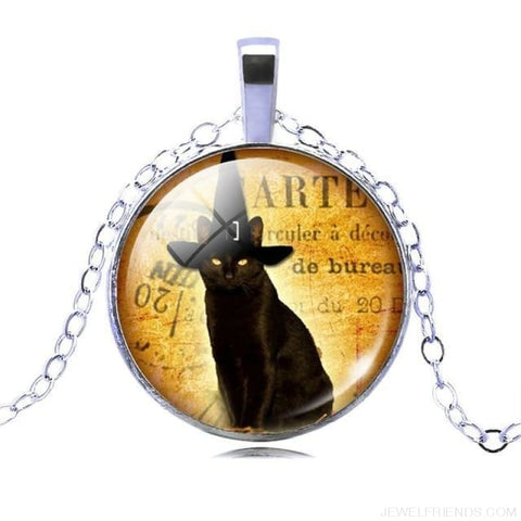 Glass Cabochon Black Cat Picture Chain Necklace - 10 - Custom Made | Free Shipping