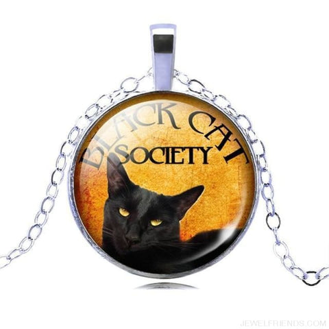 Glass Cabochon Black Cat Picture Chain Necklace - 6 - Custom Made | Free Shipping