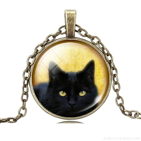 Glass Cabochon Black Cat Picture Chain Necklace - 7 - Custom Made | Free Shipping