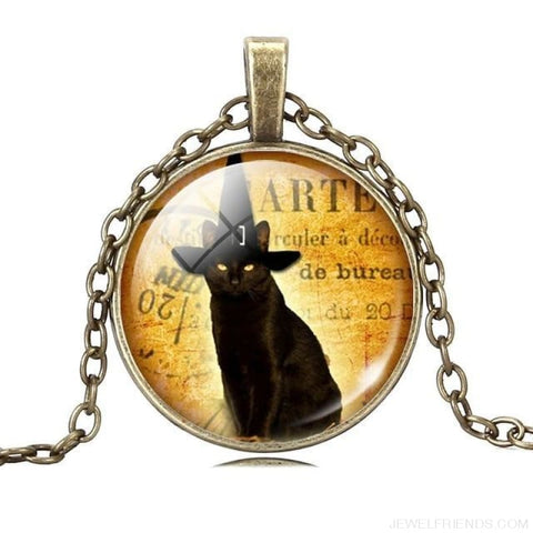 Glass Cabochon Black Cat Picture Chain Necklace - 9 - Custom Made | Free Shipping