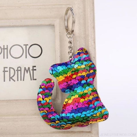 Glitter Bear Pompom Sequins Keyring - Yl008 - Custom Made | Free Shipping