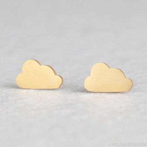 Golden Stainless Steel Cute Simple Stud Earrings - Cloud - Custom Made | Free Shipping