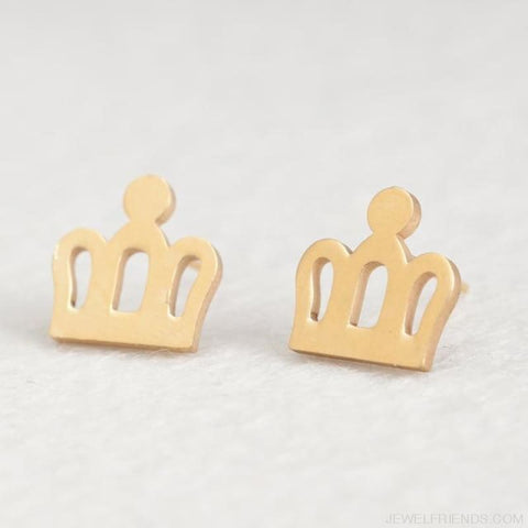 Golden Stainless Steel Cute Simple Stud Earrings - Crown - Custom Made | Free Shipping