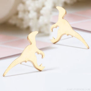 Golden Stainless Steel Cute Simple Stud Earrings
