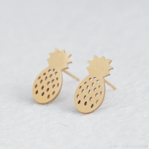 Golden Stainless Steel Cute Simple Stud Earrings - Pineapple - Custom Made | Free Shipping