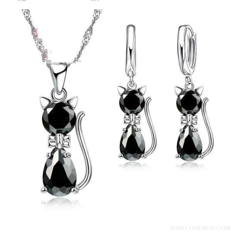 Jewellery Sets 925 Sterling Silver Cubic Zirconia Cat - Black - Custom Made | Free Shipping