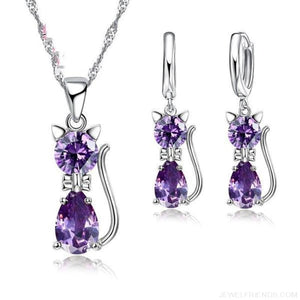 Jewellery Sets 925 Sterling Silver  Cubic Zirconia Cat