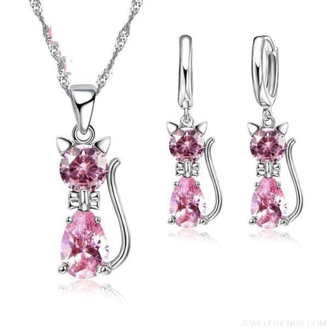Jewellery Sets 925 Sterling Silver Cubic Zirconia Cat - Pink - Custom Made | Free Shipping