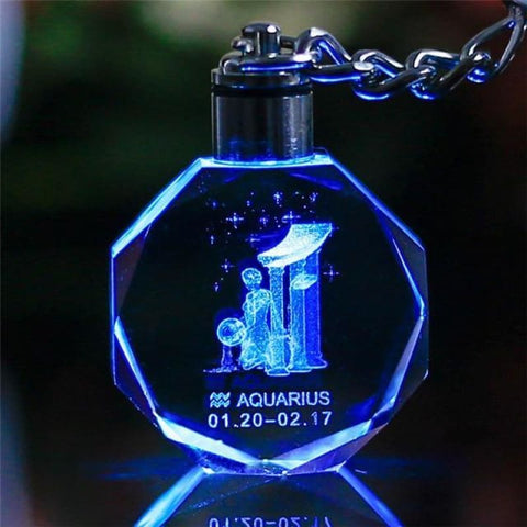 Key Chain Led Light Zodiac With Changing Color - Aquarius / Without Gift Box - Custom Made | Free Shipping