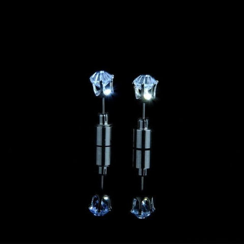 Led Light Up Glowing Crystal Stainless Steel Stud Earring - White - Custom Made | Free Shipping