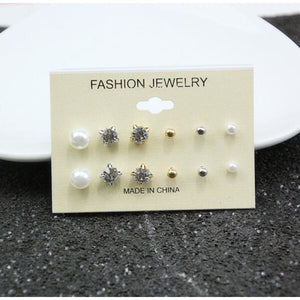 Mixing Crystal Pearl Stud Earrings 6 Pair/Set