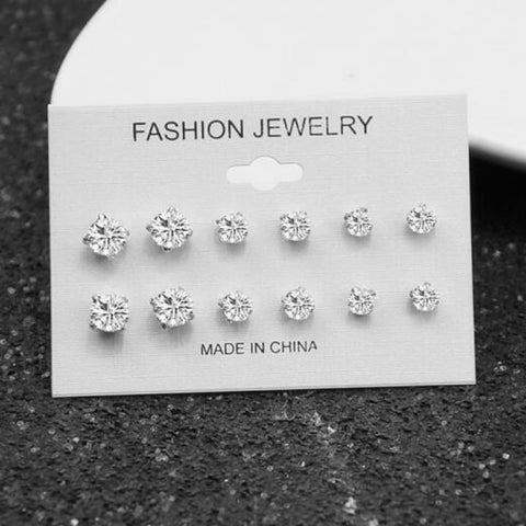 Mixing Crystal Pearl Stud Earrings 6 Pair/set - E0239 - Custom Made | Free Shipping
