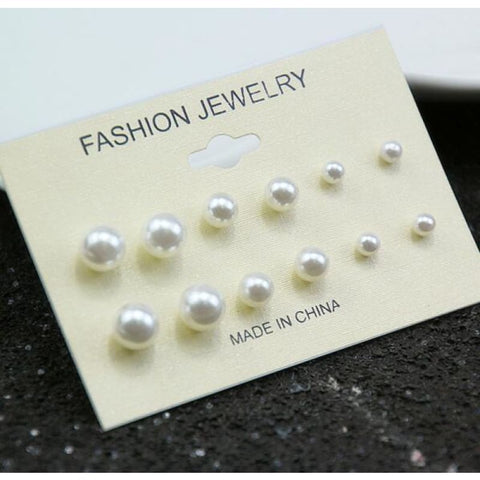 Mixing Crystal Pearl Stud Earrings 6 Pair/set - E0240 - Custom Made | Free Shipping