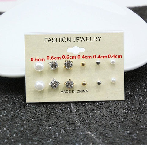 Mixing Crystal Pearl Stud Earrings 6 Pair/set - Custom Made | Free Shipping