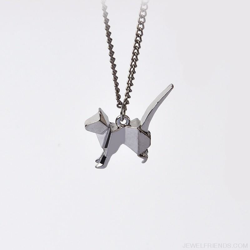 Origami Cat Silhouette Pendant Necklace - Custom Made | Free Shipping