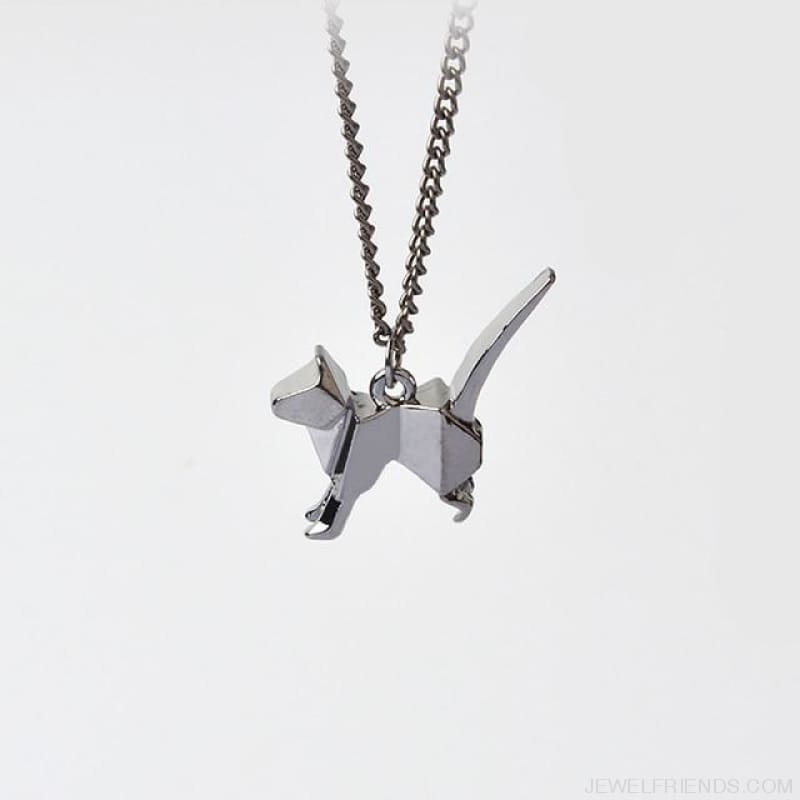 Origami Cat Silhouette Pendant Necklace - Style 4 - Custom Made | Free Shipping