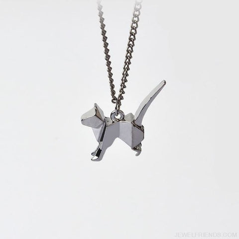 Image of Origami Cat Silhouette Pendant Necklace - Style 4 - Custom Made | Free Shipping