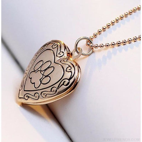Paw Footprint Photo Frame Memory Locket Necklace - Gold - Custom Made | Free Shipping