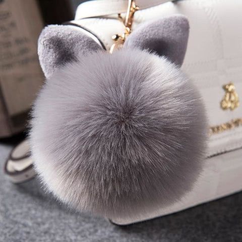 Pom Pom Rabbit Ears Fake Fur Keyring - Gray - Custom Made | Free Shipping