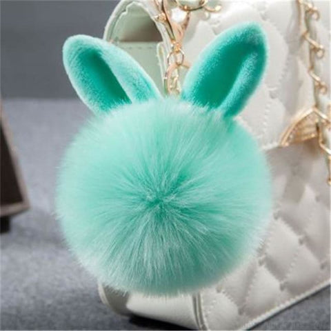 Pom Pom Rabbit Ears Fake Fur Keyring - Green - Custom Made | Free Shipping