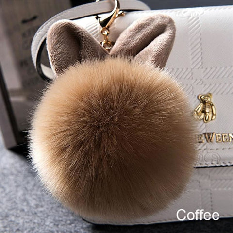 Pom Pom Rabbit Ears Fake Fur Keyring - Custom Made | Free Shipping