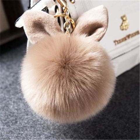 Pom Pom Rabbit Ears Fake Fur Keyring - Kaki - Custom Made | Free Shipping