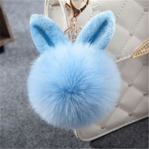 Pom Pom Rabbit Ears Fake Fur Keyring - Light Blue - Custom Made | Free Shipping