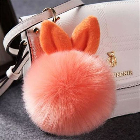 Pom Pom Rabbit Ears Fake Fur Keyring - Orange - Custom Made | Free Shipping