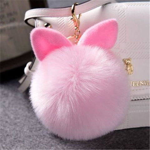 Pom Pom Rabbit Ears Fake Fur Keyring - Pink - Custom Made | Free Shipping