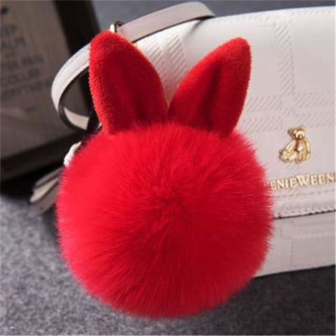 Pom Pom Rabbit Ears Fake Fur Keyring - Red - Custom Made | Free Shipping