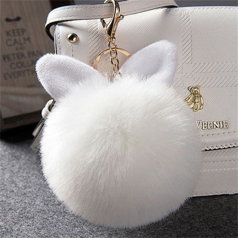 Pom Pom Rabbit Ears Fake Fur Keyring - White - Custom Made | Free Shipping