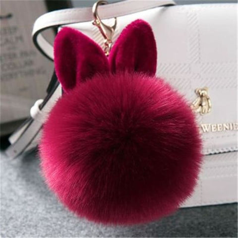 Pom Pom Rabbit Ears Fake Fur Keyring - Wine - Custom Made | Free Shipping
