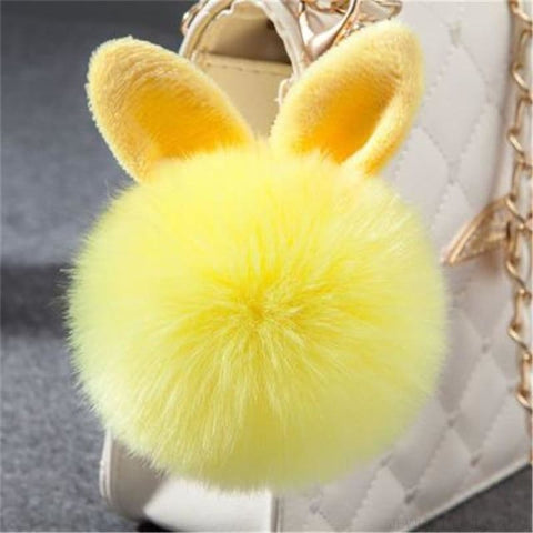 Pom Pom Rabbit Ears Fake Fur Keyring - Yellow - Custom Made | Free Shipping