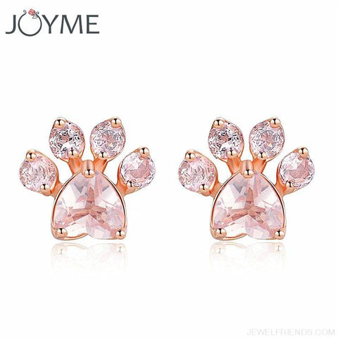 Shiny Pink Paw Stud Earrings - Custom Made | Free Shipping