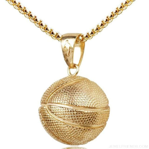 Sport Basketball Pendant Necklace - Gold Basketball - Custom Made | Free Shipping