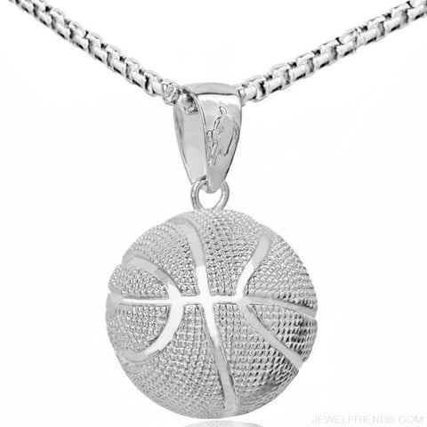 Sport Basketball Pendant Necklace - Silver Basketball - Custom Made | Free Shipping