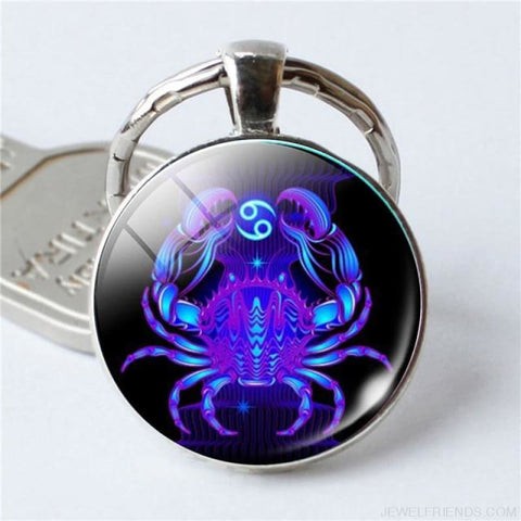 Zodiac Sign Blue Round Keychain - Cancer - Custom Made | Free Shipping