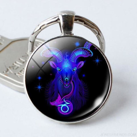 Zodiac Sign Blue Round Keychain - Capricorn - Custom Made | Free Shipping