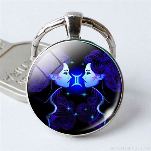 Zodiac Sign Blue Round Keychain - Gemini - Custom Made | Free Shipping