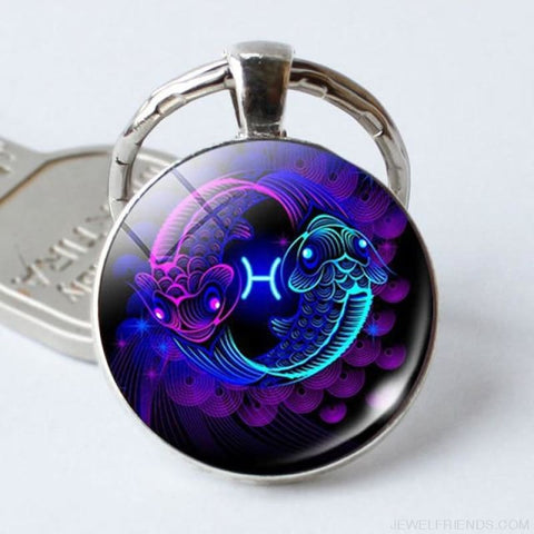 Zodiac Sign Blue Round Keychain - Pisces - Custom Made | Free Shipping
