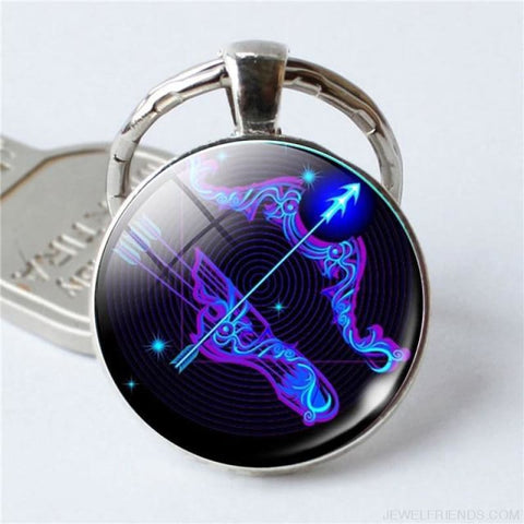 Zodiac Sign Blue Round Keychain - Sagittarius - Custom Made | Free Shipping