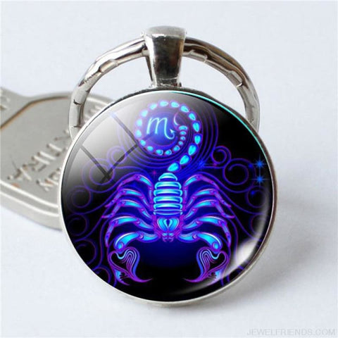 Zodiac Sign Blue Round Keychain - Scorpio - Custom Made | Free Shipping
