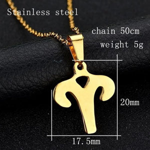 Zodiac Sign Charm Gold Color Necklace  316L Stainless Steel