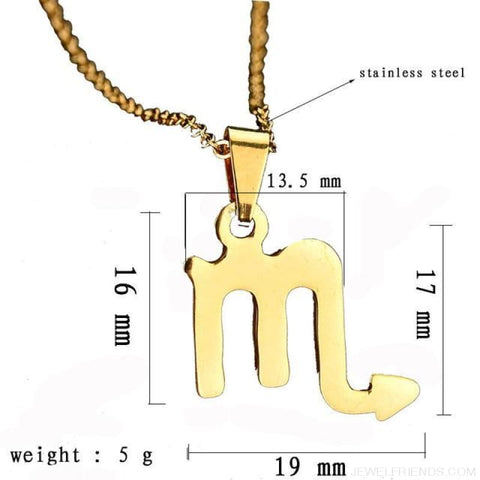 Zodiac Sign Charm Gold Color Necklace 316L Stainless Steel - Scorpio - Custom Made | Free Shipping