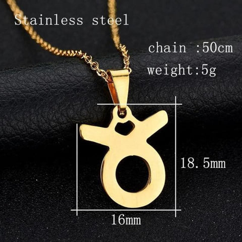 Zodiac Sign Charm Gold Color Necklace 316L Stainless Steel - Taurus - Custom Made | Free Shipping