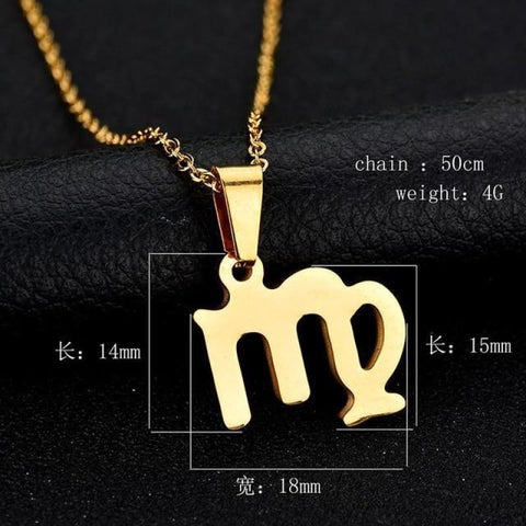 Zodiac Sign Charm Gold Color Necklace 316L Stainless Steel - Virgo - Custom Made | Free Shipping