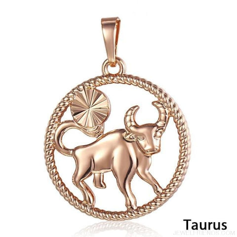Zodiac Sign Rose Gold Round Pendant Necklace - Gp254 Taurus - Custom Made | Free Shipping