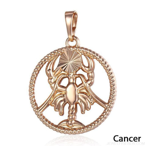 Zodiac Sign Rose Gold Round Pendant Necklace - Gp256 Cancer - Custom Made | Free Shipping