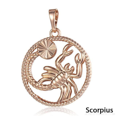 Zodiac Sign Rose Gold Round Pendant Necklace - Gp258 Scorpius - Custom Made | Free Shipping